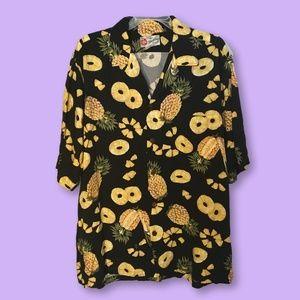 Vintage Hilo Hattie Pineapple Hawaiian Shirt